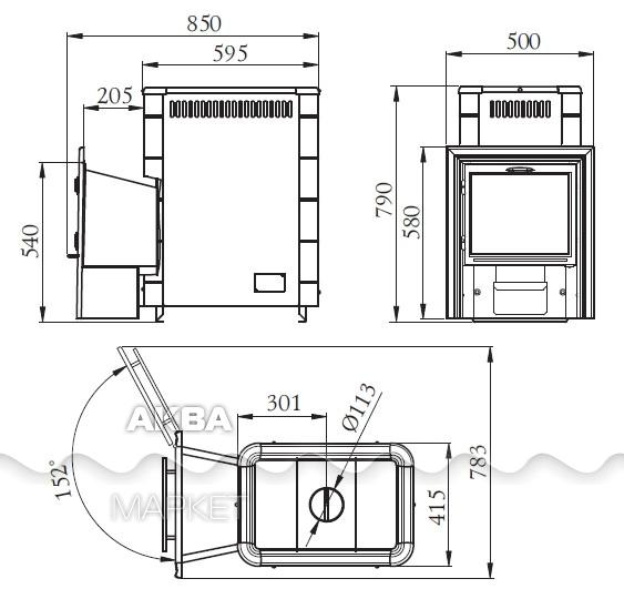 Купить дровяную печь ангара 18 антрацит с теплообменником дешево каталог кожухотрубных газо водяных теплообменников